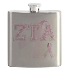 ZTA initials, Pink Ribbon, Flask