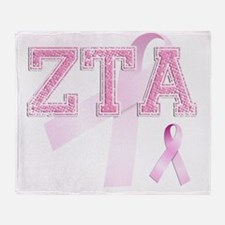 ZTA initials, Pink Ribbon, Throw Blanket