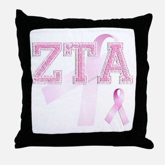 ZTA initials, Pink Ribbon, Throw Pillow