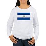 El Salvador Flag Women's Long Sleeve T-Shirt