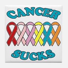 Cancer Sucks Blue Letters Tile Coaster