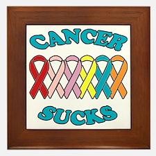 Cancer Sucks Blue Letters Framed Tile