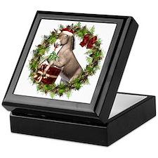 Donkey Santa Hat Inside Wreath Keepsake Box