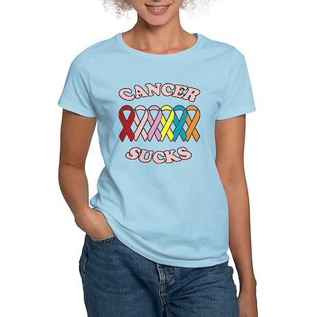 Cancer Sucks Pink Letters Women's Light T-Shirt
