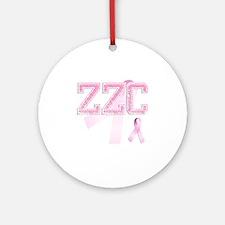 ZZC initials, Pink Ribbon, Round Ornament