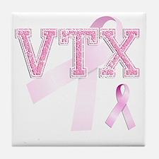 VTX initials, Pink Ribbon, Tile Coaster