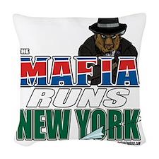 The Mafia Runs NY - wide Woven Throw Pillow