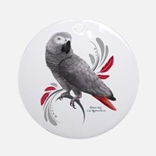 African Grey Parrot Round Ornament
