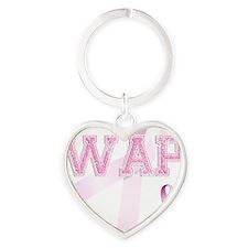 WAP initials, Pink Ribbon, Heart Keychain