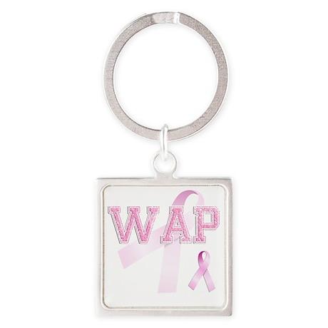 WAP initials, Pink Ribbon, Square Keychain