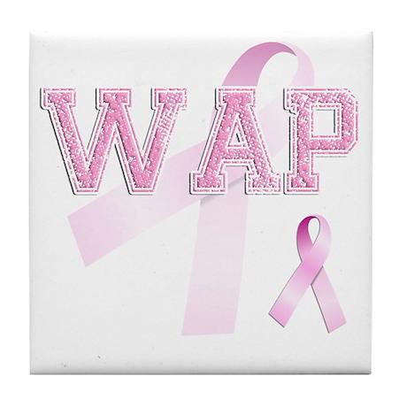 WAP initials, Pink Ribbon, Tile Coaster