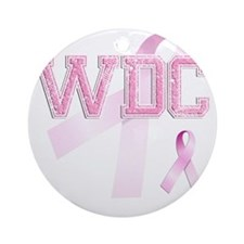 WDC initials, Pink Ribbon, Round Ornament