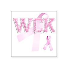 """WCK initials, Pink Ribbon, Square Sticker 3"""" x 3"""""""