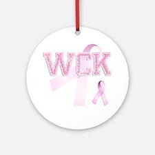 WCK initials, Pink Ribbon, Round Ornament