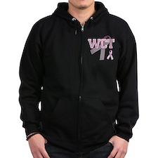 WCT initials, Pink Ribbon, Zip Hoodie