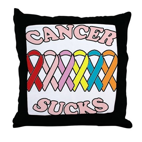 Cancer Sucks Pink Letters Throw Pillow