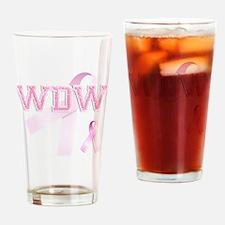 WDW initials, Pink Ribbon, Drinking Glass