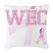 WEC initials, Pink Ribbon, Woven Throw Pillow