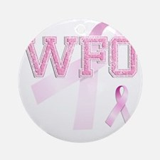 WFO initials, Pink Ribbon, Round Ornament