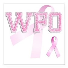 "WFO initials, Pink Ribbo Square Car Magnet 3"" x 3"""