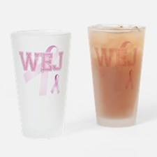 WEJ initials, Pink Ribbon, Drinking Glass