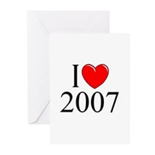 """I Love 2007"" Greeting Cards (Pk of 10)"