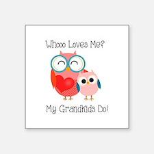 "Owl Grandkids Square Sticker 3"" x 3"""