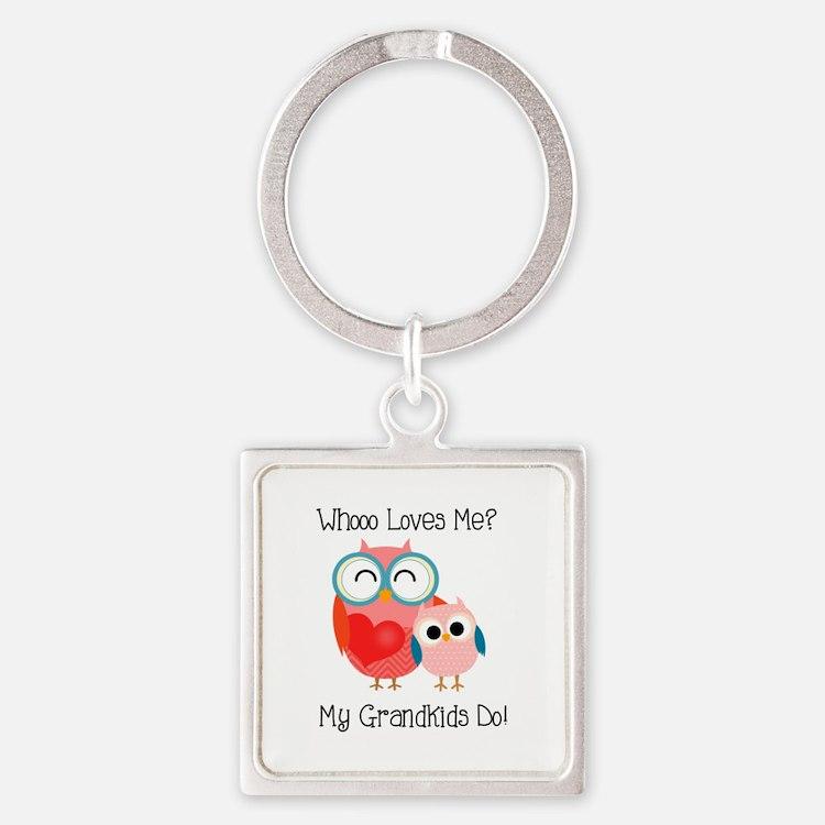 Owl Grandkids Square Keychain