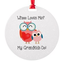 Owl Grandkids Round Ornament
