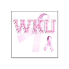 """WKU initials, Pink Ribbon, Square Sticker 3"""" x 3"""""""