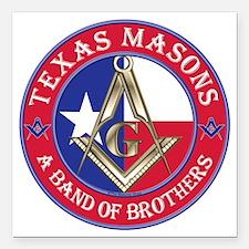 "Texas Masons. A Band of  Square Car Magnet 3"" x 3"""