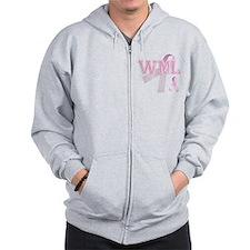 WML initials, Pink Ribbon, Zip Hoodie