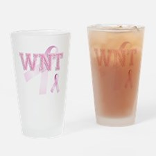 WNT initials, Pink Ribbon, Drinking Glass