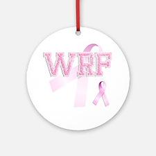 WRF initials, Pink Ribbon, Round Ornament