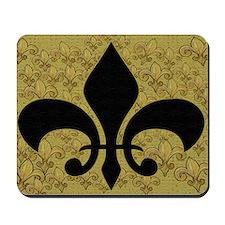 Black Fleur de lis and gold Mousepad