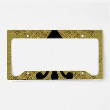 Black Fleur de lis and gold License Plate Holder