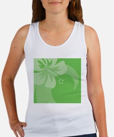 Hibiscus Green Wine Label Women's Tank Top