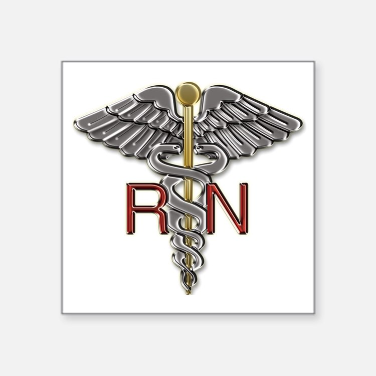 "RN Medical Symbol Square Sticker 3"" x 3"""
