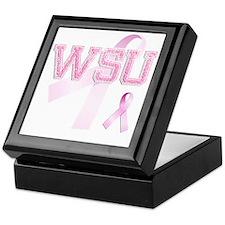 WSU initials, Pink Ribbon, Keepsake Box