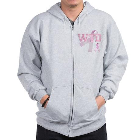 WTD initials, Pink Ribbon, Zip Hoodie