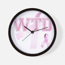 WTD initials, Pink Ribbon, Wall Clock