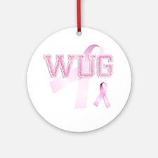 WUG initials, Pink Ribbon, Round Ornament