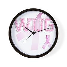 WUG initials, Pink Ribbon, Wall Clock