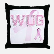 WUG initials, Pink Ribbon, Throw Pillow
