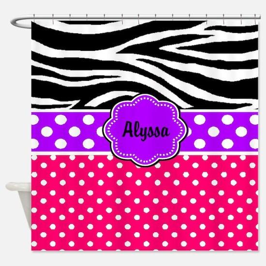 Pink Purple Zebra Personalized Shower Curtain