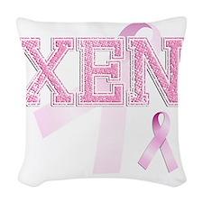XEN initials, Pink Ribbon, Woven Throw Pillow