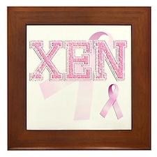 XEN initials, Pink Ribbon, Framed Tile