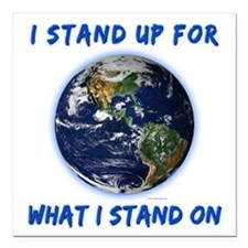 """Earth Stand Square Car Magnet 3"""" x 3"""""""