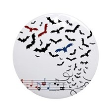 Bat Music Design Round Ornament