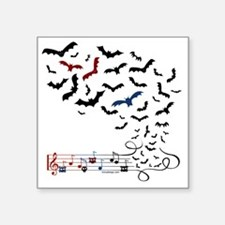 "Bat Music Design Square Sticker 3"" x 3"""